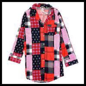 Victoria's Secret Flannel Sleep Shirt Red Patch